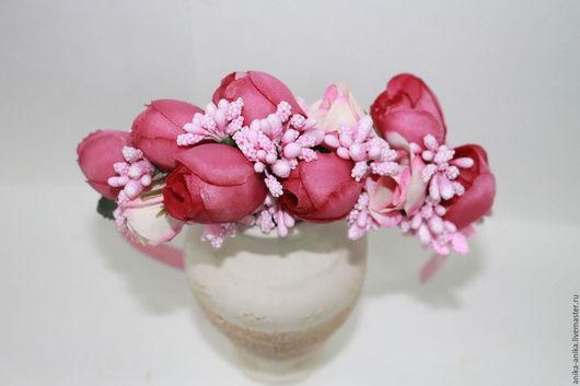 Диадемы, обручи ручной работы. Ярмарка Мастеров - ручная работа. Купить ободок из бутонов роз. Handmade. Бордовый, ободок для волос