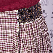 Одежда ручной работы. Ярмарка Мастеров - ручная работа Льняная юбка в клеточку с хлопковыми вставками. Handmade.