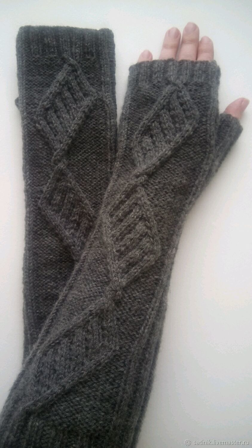 Fingerless long gloves, Patterned stripes, dark grey, Mitts, Kamyshin,  Фото №1