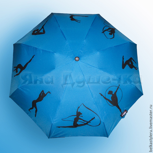 """Зонты ручной работы. Ярмарка Мастеров - ручная работа. Купить Зонт с ручной росписью """"Гимнастки"""". Handmade. Голубой, зонтик"""