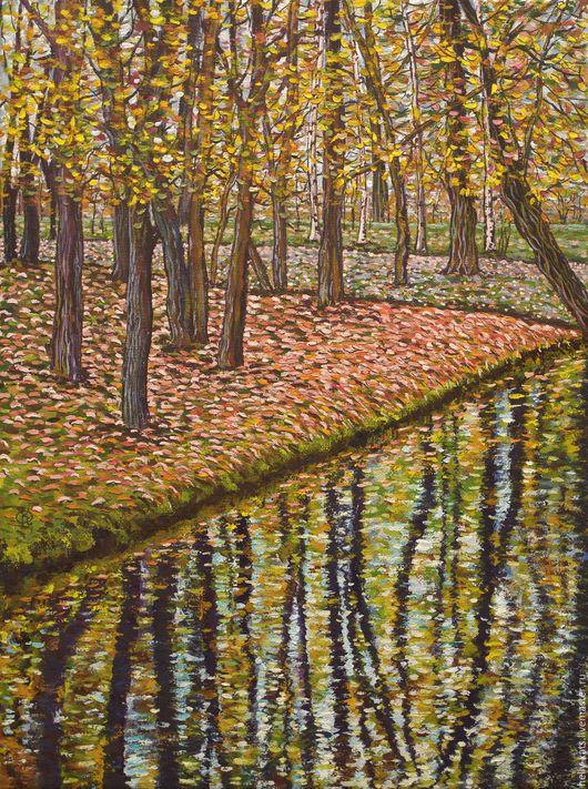 Пейзаж ручной работы. Ярмарка Мастеров - ручная работа. Купить Осени ковер. Handmade. Осень, лес, отражение, краски осени