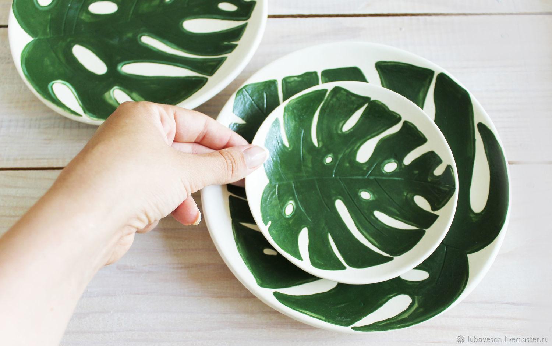 Декоративная посуда ручной работы. Ярмарка Мастеров - ручная работа. Купить Тарелки монстера. Handmade. Панно, подарок подруге, лист
