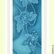 """Аксессуары ручной работы. Ярмарка Мастеров - ручная работа Мини-шарфик батик """"Голубые хризантемы"""". Handmade."""