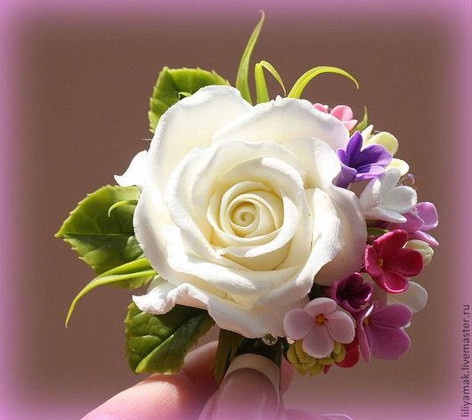 Заколки ручной работы. Ярмарка Мастеров - ручная работа. Купить Розочка на зажиме. Handmade. Роза, цветы ручной работы, бусины