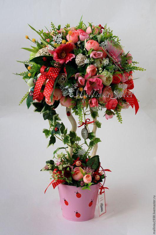 """Топиарии ручной работы. Ярмарка Мастеров - ручная работа. Купить Топиарий, дерево счастья """"Фантазии"""". Handmade. Розовый, топиарий из цветов"""
