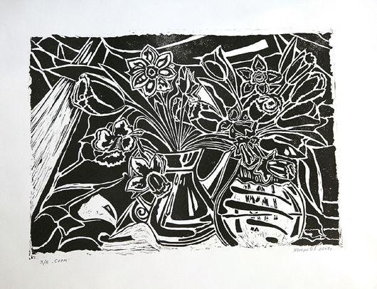 Картины цветов ручной работы. Ярмарка Мастеров - ручная работа. Купить Свет. Handmade. Графика, гравюра, линогравюра, цветы, букет
