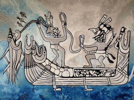 """Этно ручной работы. Ярмарка Мастеров - ручная работа. Купить Картина маслом """"Легенда Перу"""". Handmade. Голубой, лодка"""