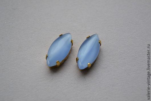 Для украшений ручной работы. Ярмарка Мастеров - ручная работа. Купить Винтажные стразы 15х7мм. цвет Blue Moonstone. Handmade.