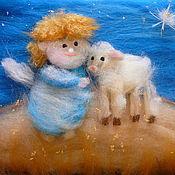Картины и панно ручной работы. Ярмарка Мастеров - ручная работа Ангел и овечка :). Handmade.