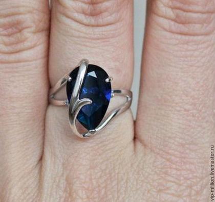 Кольца ручной работы. Ярмарка Мастеров - ручная работа. Купить Серебряное кольцо с сапфиром ( лаб). Handmade. Синий