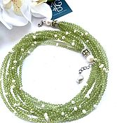 Украшения handmade. Livemaster - original item Necklace made of chrysolite and pearls