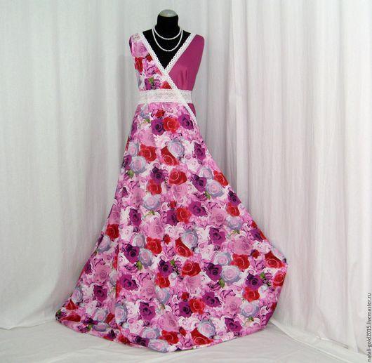 """Шитье ручной работы. Ярмарка Мастеров - ручная работа. Купить Хлопок-стрейч """"Розовые розы"""".. Handmade. Фуксия, платье из хлопка"""