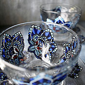 "Посуда handmade. Livemaster - original item Glass tea set ""Midnight flower"". Handmade."