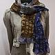 """Шарфы и шарфики ручной работы. Ярмарка Мастеров - ручная работа. Купить Валяный шарф """"Brown&Blue&Gray"""". Handmade. Серый, шарфик женский"""