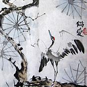 Картины и панно ручной работы. Ярмарка Мастеров - ручная работа Журавлики. Китайская живопись. Handmade.