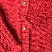 Одежда детская handmade. Livemaster - original item 100% wool Porto raglan red cardigan. Handmade.
