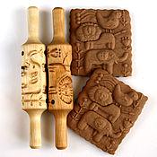 Для дома и интерьера ручной работы. Ярмарка Мастеров - ручная работа Резьба по дереву скалка для пряников и печенья слон лев птица. Handmade.