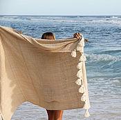Для дома и интерьера ручной работы. Ярмарка Мастеров - ручная работа Сливочное покрывало из ткани ручной выделки с крупными кистями. Handmade.