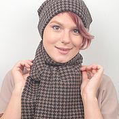 Аксессуары handmade. Livemaster - original item Set hat scarf or Snood brown black crow`s foot. Handmade.