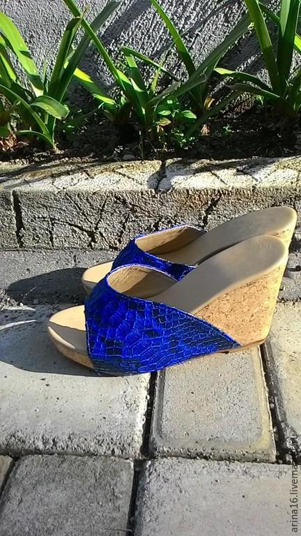 Обувь ручной работы. Ярмарка Мастеров - ручная работа. Купить Сабо  синие. Handmade. Синий, босоножки женские, кожа питона