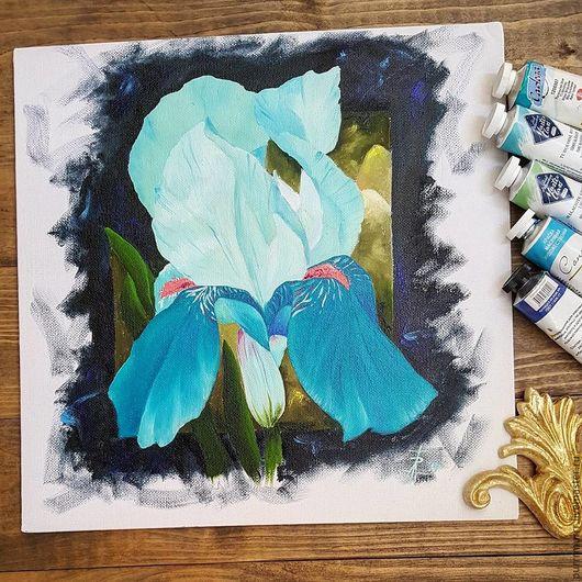 Картины цветов ручной работы. Ярмарка Мастеров - ручная работа. Купить Ирис цвета бирюзы. Handmade. Бирюзовый, ирисы, цветы