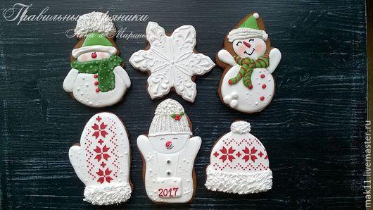 Пряничные снеговики. Пряник -шапочка. Пряничная варежка. Набор из 6 имбирных новогодних пряников.