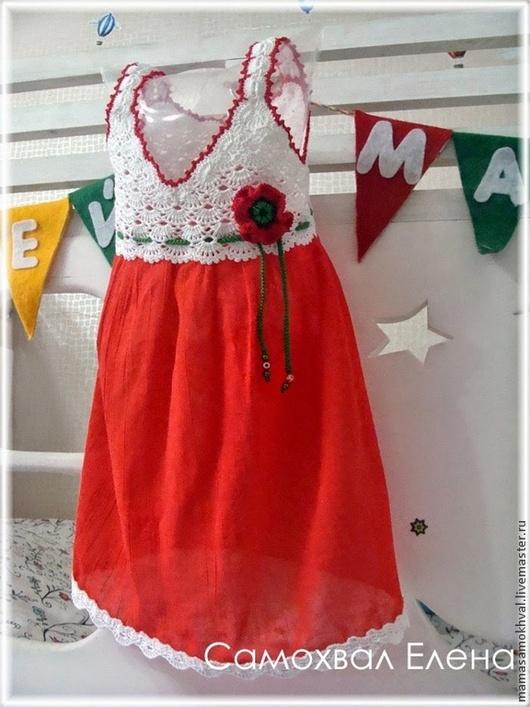 Одежда для девочек, ручной работы. Ярмарка Мастеров - ручная работа. Купить Платье комбинированное Маков цвет. Handmade. Цветочный, для детей