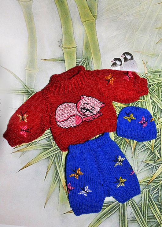 Одежда для кукол ручной работы. Ярмарка Мастеров - ручная работа. Купить Комплект одежды для мишки тедди. Handmade. Красный, свитер