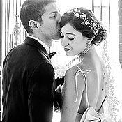 Свадебный салон ручной работы. Ярмарка Мастеров - ручная работа 32_Белая свадебная диадема, Цветочная корона для волос. Handmade.