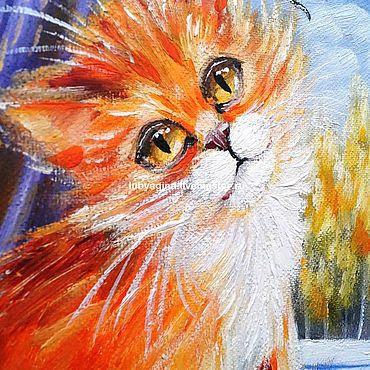 """Картины и панно ручной работы. Ярмарка Мастеров - ручная работа """" Рыжик """" Картина для детей с рыжим котенком. Handmade."""