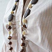 Украшения handmade. Livemaster - original item Long beads of lava and mother-of-pearl Vanilla and chocolate. Handmade.