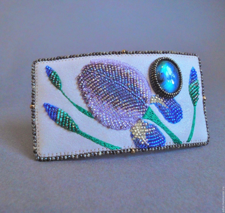 Barrette IRISES beads, labradorite, nubuck, leather, Hairpins, Moscow,  Фото №1