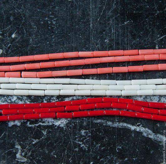 Для украшений ручной работы. Ярмарка Мастеров - ручная работа. Купить Бусины-трубочки из коралла, нить. Handmade. Маленькие бусины