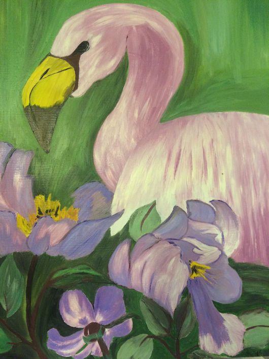 Картины цветов ручной работы. Ярмарка Мастеров - ручная работа. Купить Фламинго. Handmade. Фламинго, масло