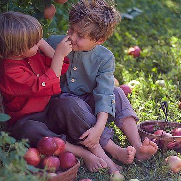 Одежда ручной работы. Ярмарка Мастеров - ручная работа Рубашка для мальчика льняная нарядная красная зеленая. Handmade.