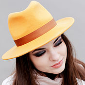 Аксессуары handmade. Livemaster - original item Fedora hat with a flat brim. Color mustard. Handmade.