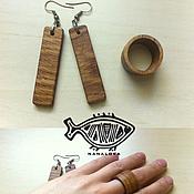 Аксессуары ручной работы. Ярмарка Мастеров - ручная работа Серьги и кольца и з дерева. Handmade.
