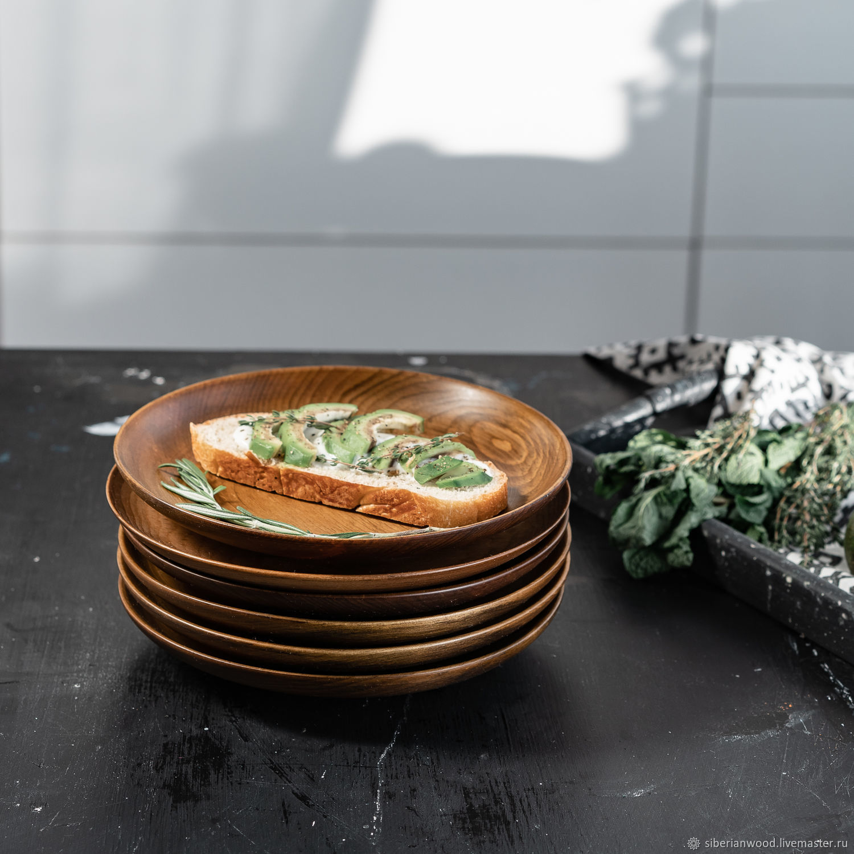 Set of wooden plates made of Siberian Cedar 250 mm TN52, Dinnerware Sets, Novokuznetsk,  Фото №1