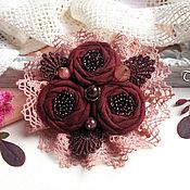 """Украшения ручной работы. Ярмарка Мастеров - ручная работа Брошь текстильная """"Бордовая роза""""  цветок вишневый букет. Handmade."""