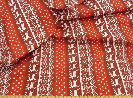 Ткань лен хлопок Бегущие олени на красном