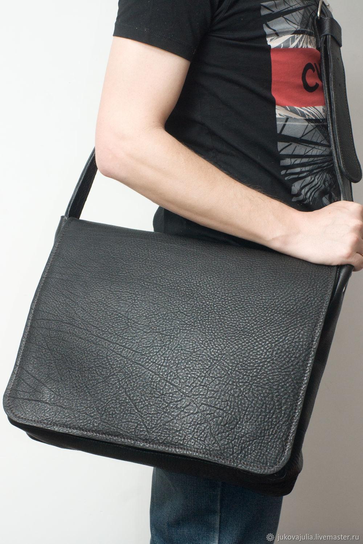 Genuine black leather crossbody bag, Messenger Bag, Stavropol,  Фото №1