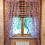 Римские и рулонные шторы ручной работы. Ярмарка Мастеров - ручная работа Римская штора в клетку с органзой цветы. Handmade.