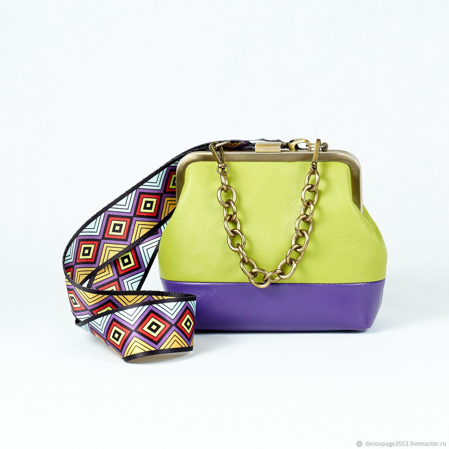 Bag with clasp green leather, Clasp Bag, Novosibirsk,  Фото №1