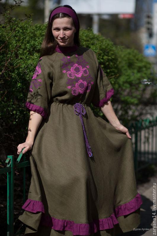 Платья ручной работы. Ярмарка Мастеров - ручная работа. Купить Платье с вышивкой франзузским крестом. Handmade. Тёмно-зелёный
