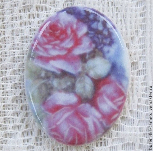 Для украшений ручной работы. Ярмарка Мастеров - ручная работа. Купить Кабошон Цветы №18 30х40мм, фарфор. Handmade. Камея