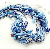 """Украшения ручной работы. Ярмарка Мастеров - ручная работа Колье """"Синие цветы"""". Handmade."""