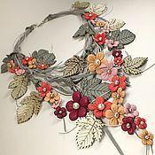 Украшения handmade. Livemaster - original item Dawn Mountain Meadows. Necklace made of genuine leather. Handmade.