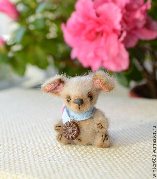 Мишки Тедди ручной работы. Ярмарка Мастеров - ручная работа. Купить Собачка Мушка 3. Handmade. Бежевый, мех для миниатюры