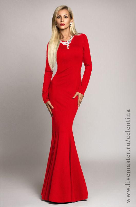 Длинное красное вечернее платье в пол, Платье `рыбка`