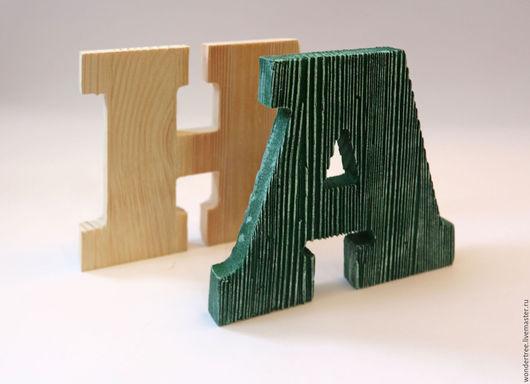 Интерьерные слова ручной работы. Ярмарка Мастеров - ручная работа. Купить интерьерные буквы из массива сосны. Handmade. Бежевый